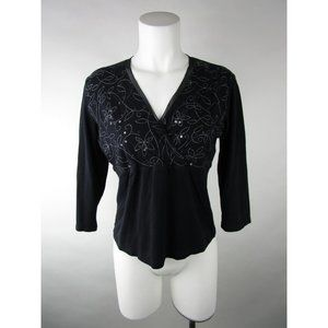 J.Jill Embroidered Sequin Floral Wrap VNeck Blouse